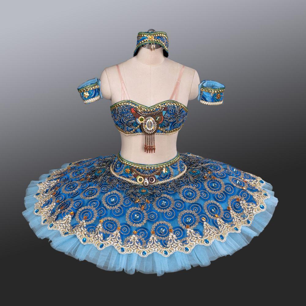 Zwei-Stück Blau Tutu Arabischen Stil Ballett Kostüme Rock Für Mädchen Blau Vogel Pfannkuchen Tutu Für Verkauf Ballerina Leistung kleider