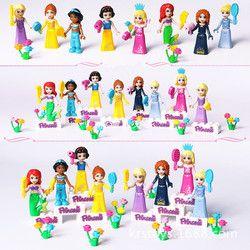 Baru 8 pcs Dongeng Putri Gadis Legoings Model Kit Bangunan Boneka Angka Bricks Blok Kid Teman-teman Anak Mainan Hadiah
