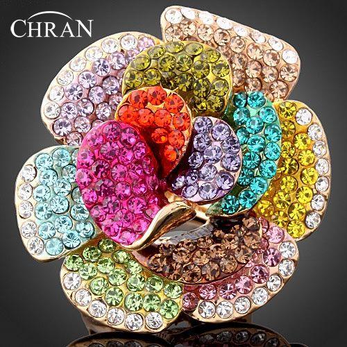 Chran en gros nouvelle couleur or strass cristal Rose fleur anneaux pour femmes bijoux de mode meilleure partie cadeaux accessoires