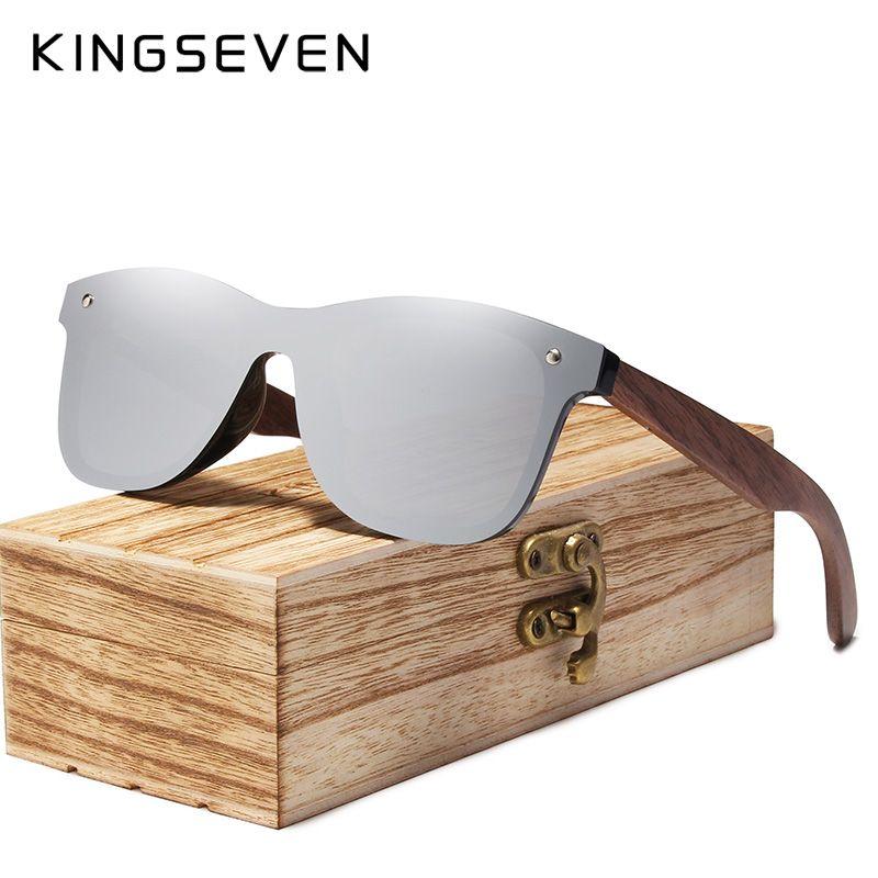 KINGSEVEN 2019 hommes lunettes de soleil polarisées noyer bois miroir lentille lunettes de soleil femmes marque Design coloré nuances à la main