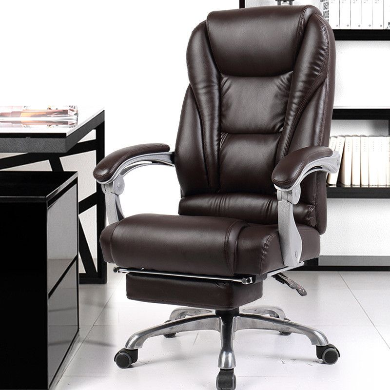 Luxurious And Comfortable Office Computer Armchair Ergonomic Lying Boss Chair Household Leather Seat Aluminum Foot With Footrest