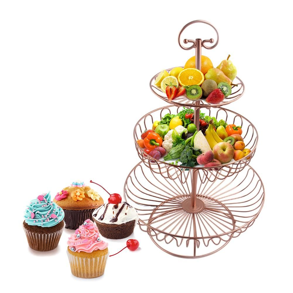 3 Tier Fruit Stand Rose Gold Paint Iron Wedding candy Placed Tool Round Dessert Hollow Metal home Plate Stand Wire Fruit Basket