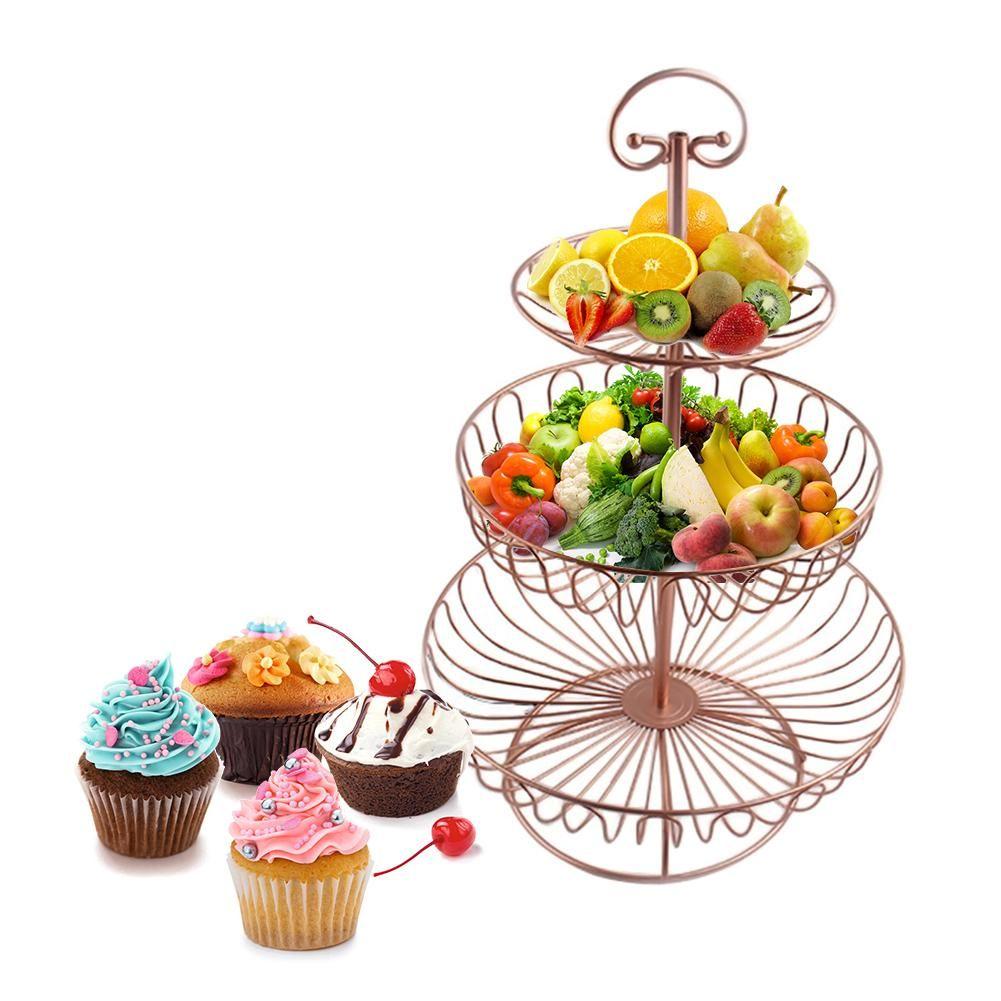 3 Tier Obst Stehen Rose Gold Farbe Eisen Hochzeit süßigkeiten Platziert Werkzeug Runde Dessert Hohl Metall home-Plate Stehen Draht obst Korb