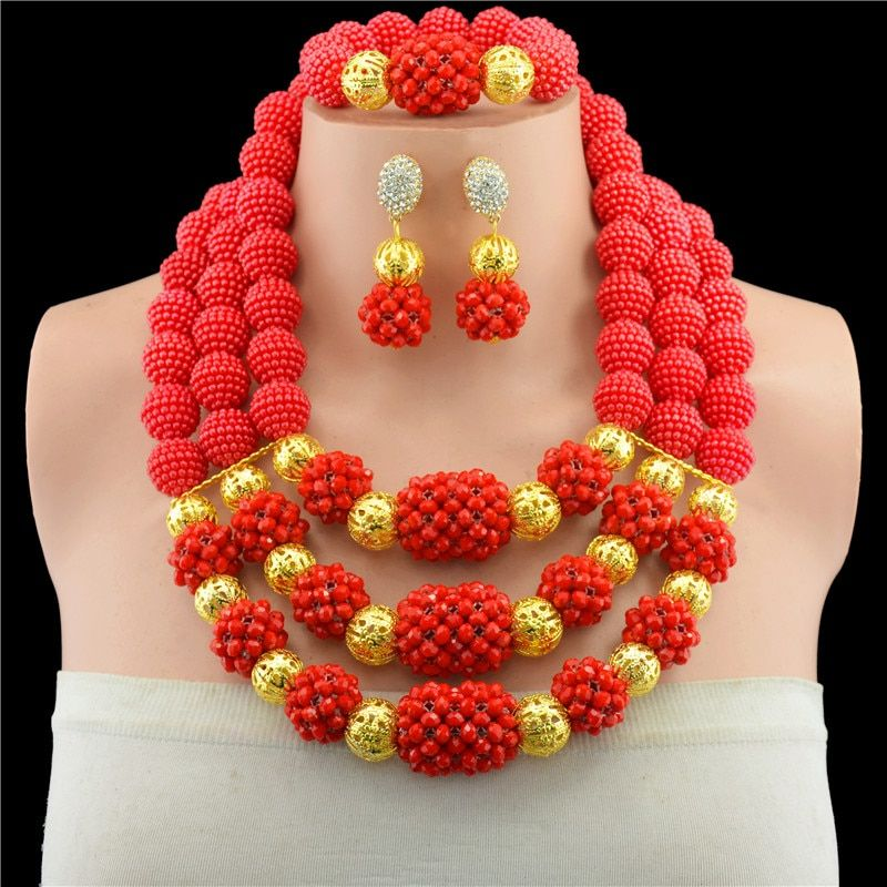 Fashion Red Nigerian Crystal Beads Necklace Bracelet Earrings Sets African Wedding Beads African Beads Jewelry Sets WS5240