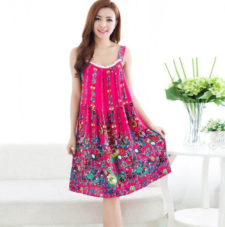 Femmes coton chemise de nuit sans manches chemise de nuit Floral chemise de nuit douce chemise de nuit de mode décontracté robe de maison