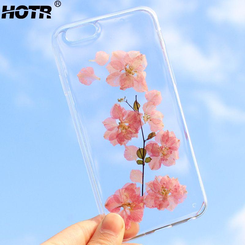 HOTR Fleurs Séchées Réel Téléphone Cas Pour iphone 6 6s plus Pour iphone 7 7 plus 8 8 Plus X Transparent Souple TPU Cas de Couverture Arrière