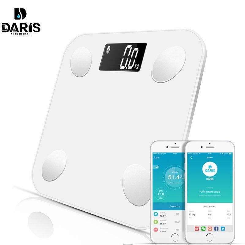 SDARISB Bluetooth balances plancher poids corporel balance de salle de bain Smart rétro-éclairé affichage balance poids corporel graisse corporelle eau masse musculaire imc
