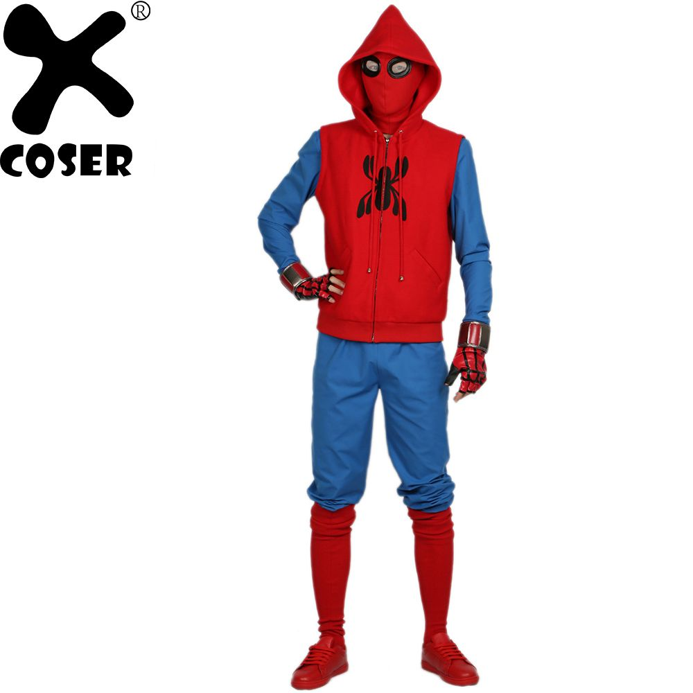 XCOSER Hot New Spider Man Homemade Suit Superhero Movie Spider-Man Homecoming Cosplay Outfits Halloween Costume for Men Adult