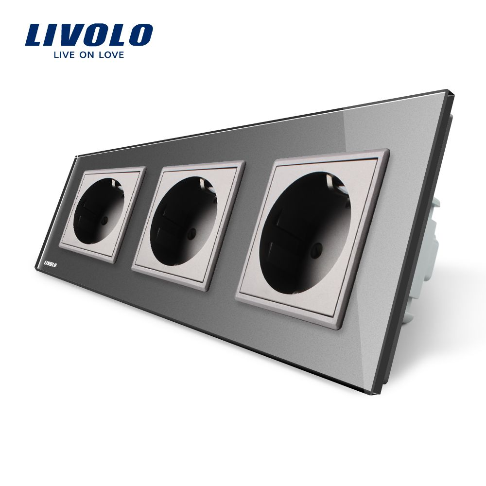 Livolo EU Standard Socket, Gary Crystal Toughened Glass Outlet Panel, Triple Wall Power Sockets Without Plug,VL-C7C3EU-15