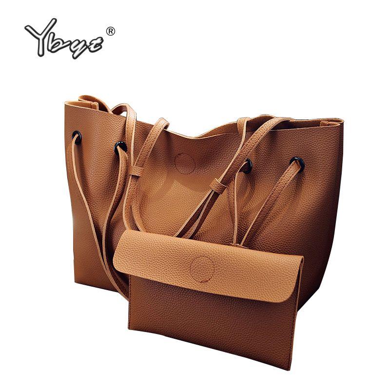 Ybyt бренд 2018 Новые повседневные женские сумки композитные сумки дамы пакет Hotsale Простой большой емкости свежие женские сумки на плечо
