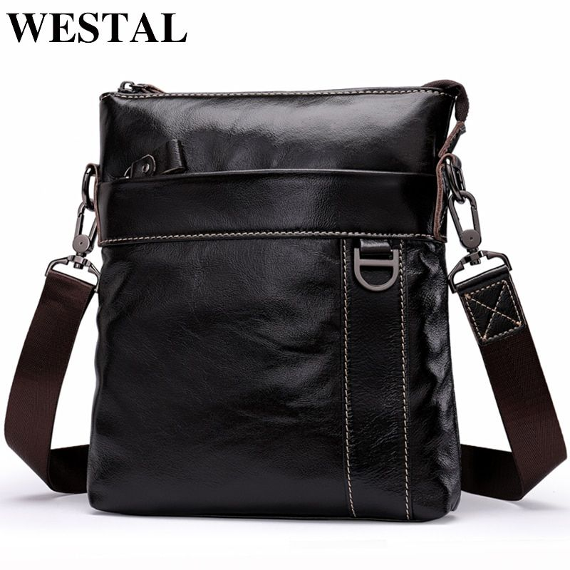 WESTAL Genuine Leather Messenger Bags men Handbags Fashion Male flap cowhide Leather bag shoulder Crossbody bags new design 9010