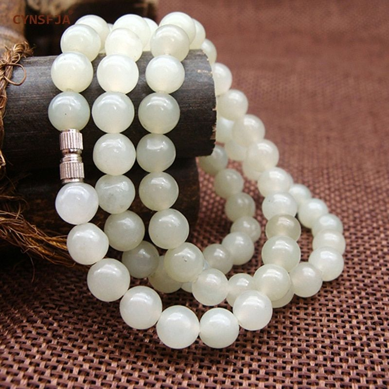 Xinjiang Jade Beads Necklace Certified Natural Hetian White Jade Nephrite 6mm High Quality Family Friends Gifts For Mother
