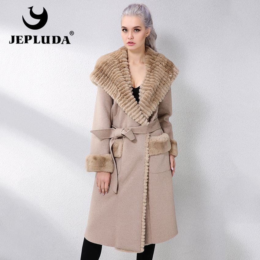 JELUDA Hot Sale Cashmere Coat Women Overcoat Placket Hood Natural Rex Rabbit Fur Long Real Fur Coat Genuine Leather Jacket Women