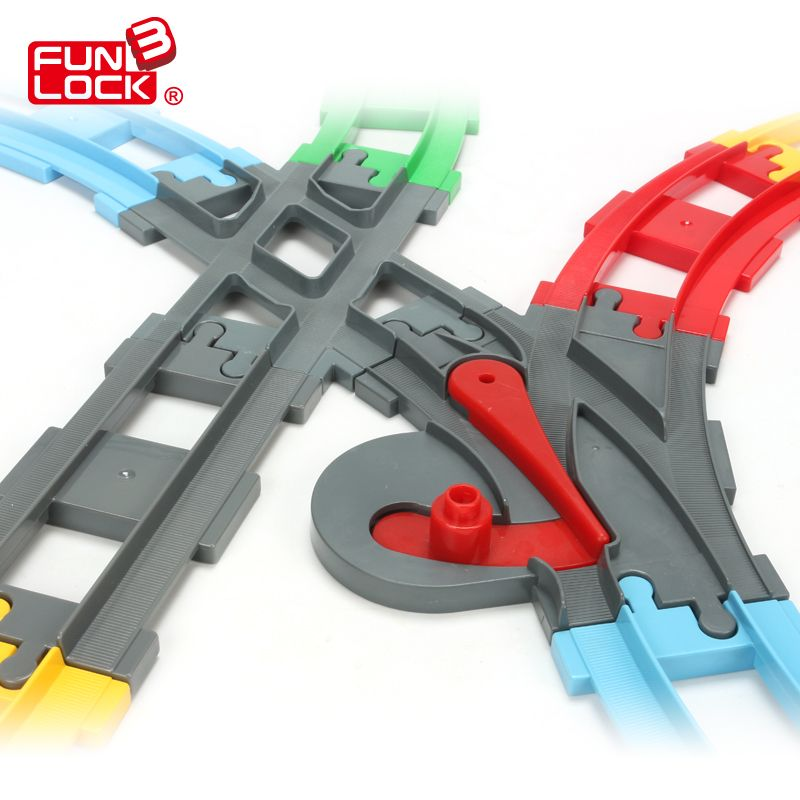 Funlock Duplo 13pcs Toys Blocks Train <font><b>Track</b></font> in Straight Curve and Crossover Railway Switch Assembling Parts Educational Toys