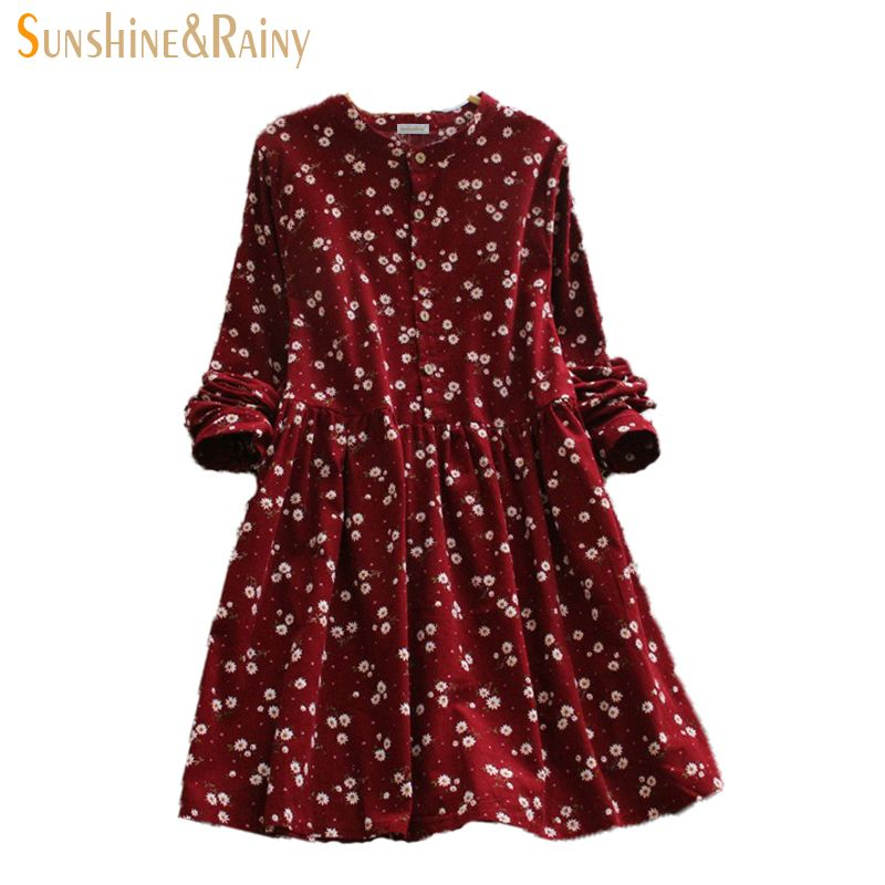 2017 <font><b>Japanese</b></font> korean style long sleeved autumn fall all match fashion small flowers print floral fashion corduroy woman dress