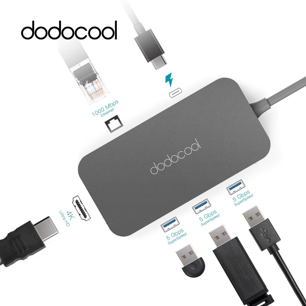 Dodocool Typ-C Hub Aluminium USB Hub USB-C Hub mit Typ-C PD Video HD RJ-45 Gigabit Ethernet adapter USB 3.0 Hub für MacBook