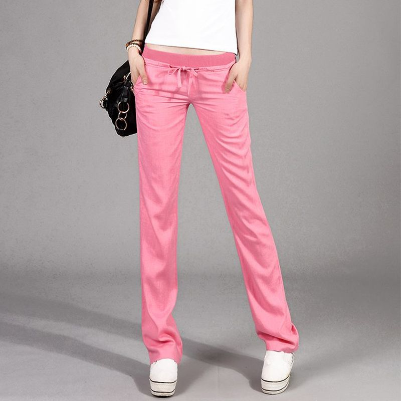 Printemps été Style nouveau mode all-match banlieue lin lin décontracté taille élastique Pantalon droit femmes Pantalon Femme 4 couleurs