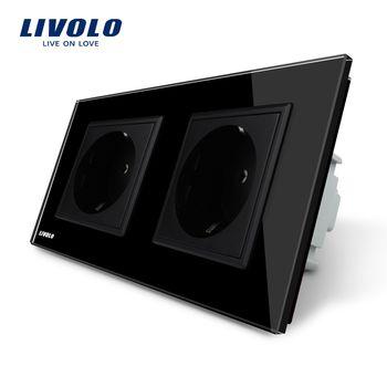 Livolo производитель ЕС Стандартный стены Мощность разъем, Черный Кристалл Стекло Панель, AC110 ~ 250 В 16A розетки VL-C7C2EU-12