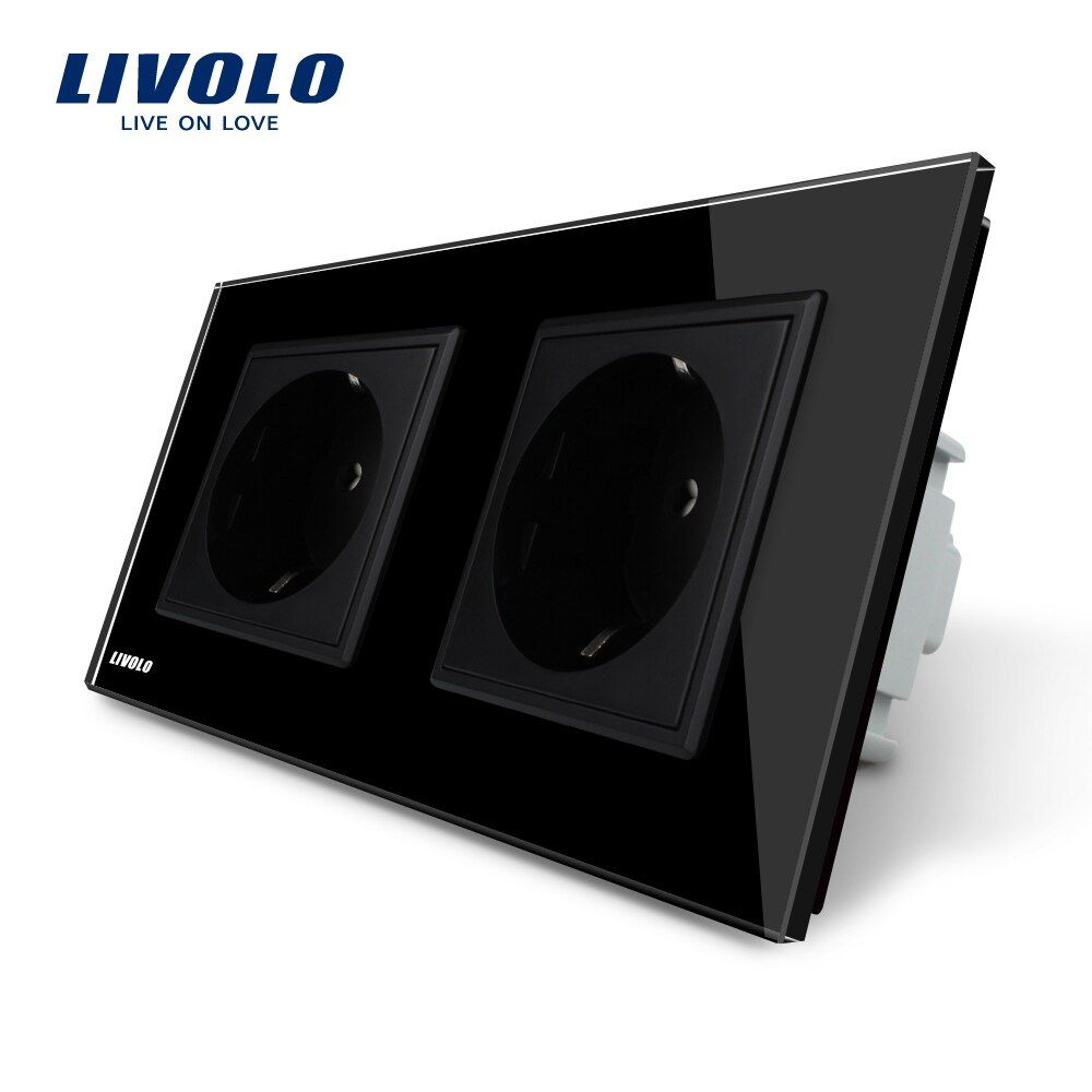 Livolo Manufacturer EU Standard Wall Power Socket, Black Crystal <font><b>Glass</b></font> Panel, AC110~250V 16A Wall Outlet VL-C7C2EU-12