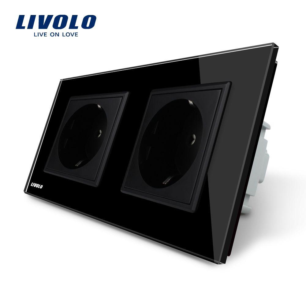Livolo Manufacturer EU Standard Wall Power Socket, Black Crystal Glass Panel, AC110~250V 16A Wall Outlet VL-C7C2EU-12