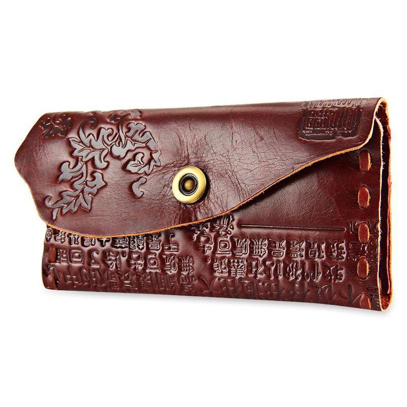 Chinesischen Schriftzeichen Design Unisex Druckknopf Brieftasche Echtleder Präge Blume Frauen Brieftasche PU Leder Weibliche Beutel