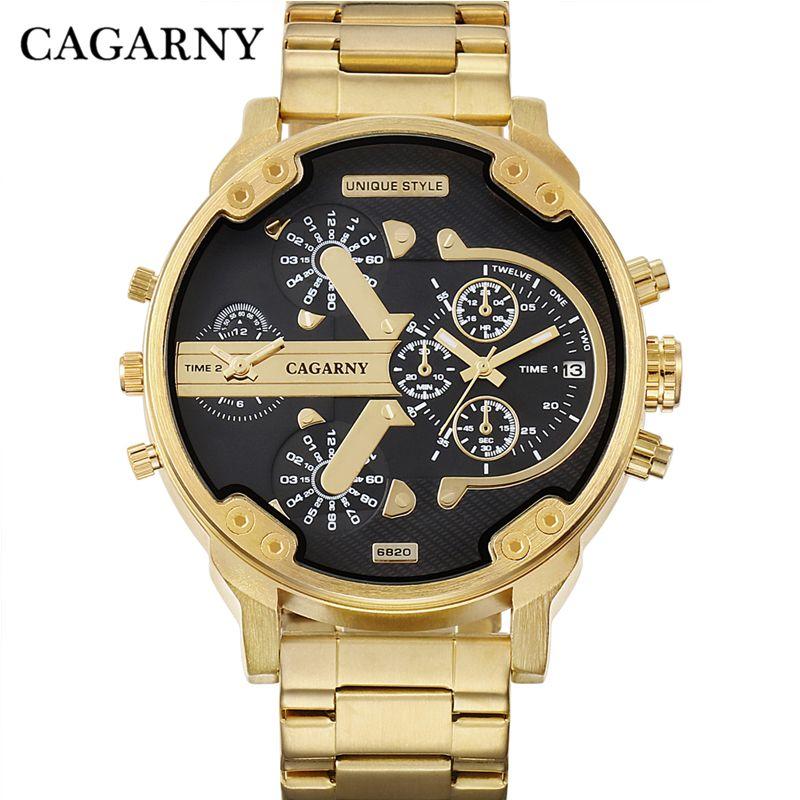 Cagarny Мужские часы Для мужчин модные Кварцевые наручные часы Прохладный Большой корпус золотой Сталь ремешок Военное Дело Relogio masculino D6820 час