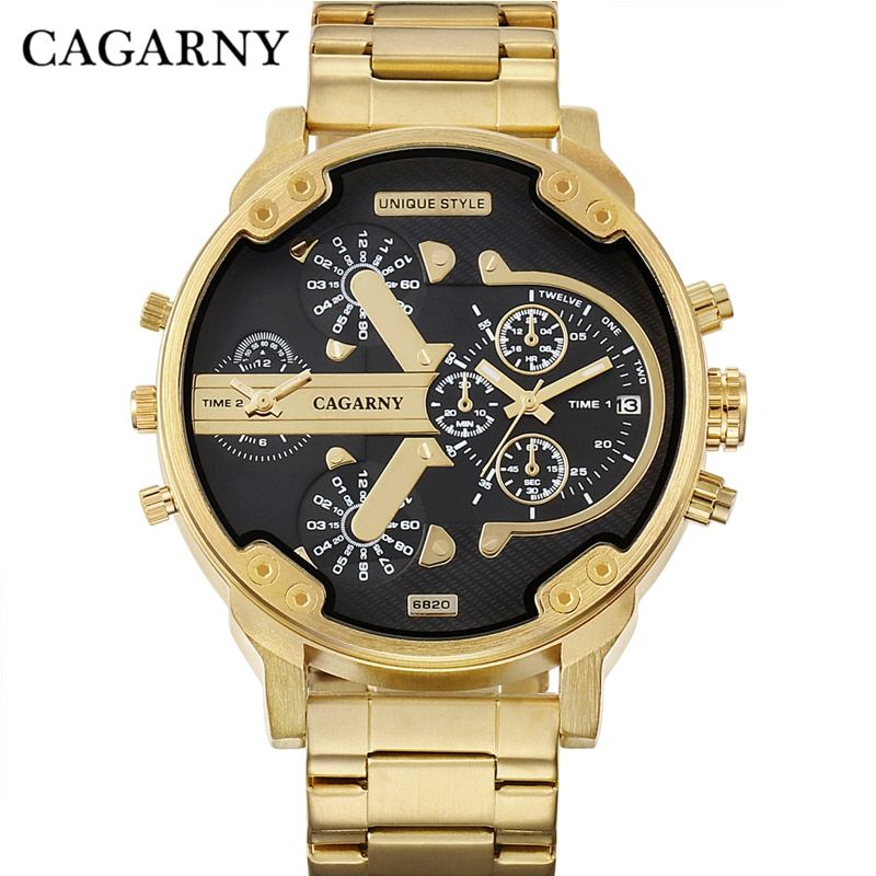 Cagarny Men's Watches Men Fashion Quartz Wristwatches <font><b>Cool</b></font> Big Case Golden Steel Watchband Military Relogio Masculino D6820 Hour