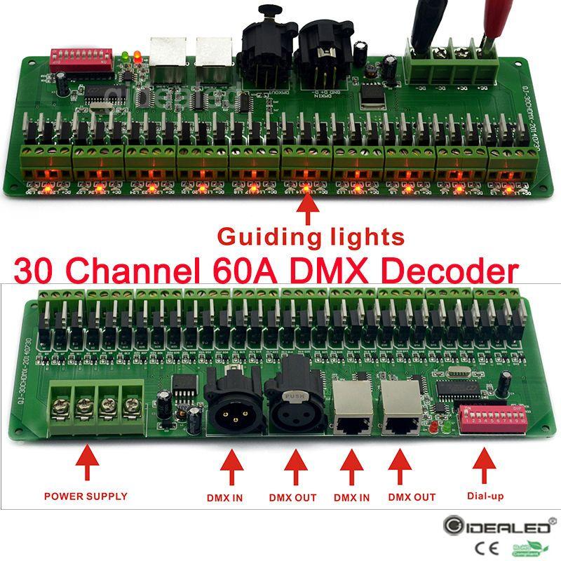 27 canaux/30 canaux DMX Décodeur avec RJ45 et XLR Plug DMX 512 RGB Contrôleur Pour DC12V-24V RVB RGBW led bande lumière