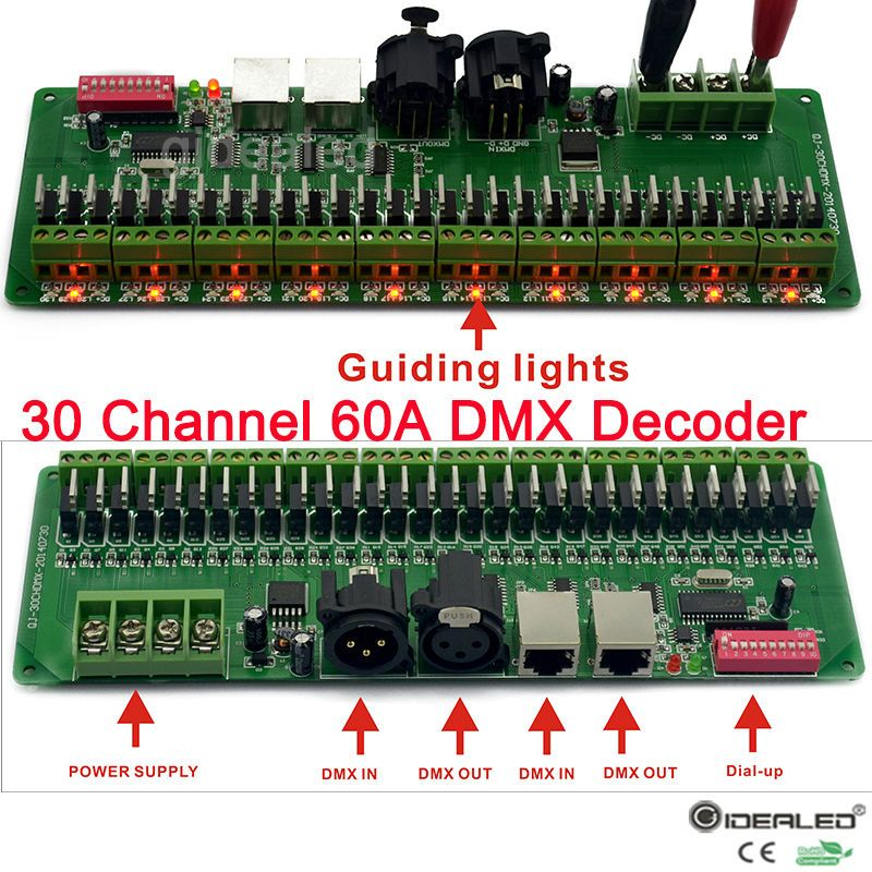 27channels / 30 channel 60A DMX decoder with RJ45 and XLR Plug DMX 512 RGB controller input DC9-24V for RGB RGBW led lights
