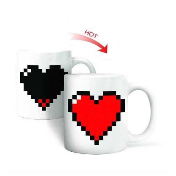 Creative Coeur Magique Changement de Température Tasse Changement De Couleur Caméléon Tasses Chaleur Sensible Tasse Café Thé Lait Tasse Nouveauté Cadeaux