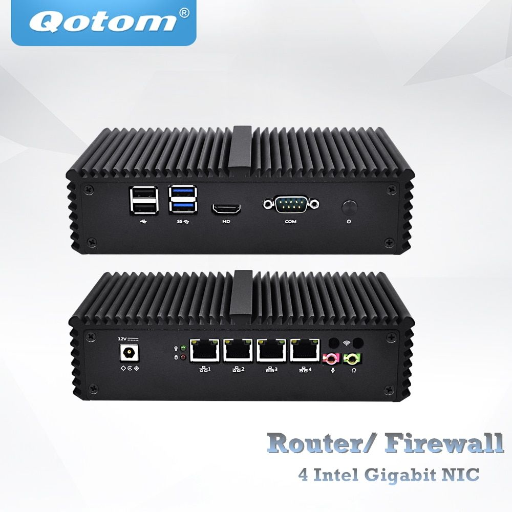 Four Lan Mini PC celeron 3215/core i3 4005U/core i5 4200U/core i5 5200U VPN Router appliance,Fanless Pfsense box