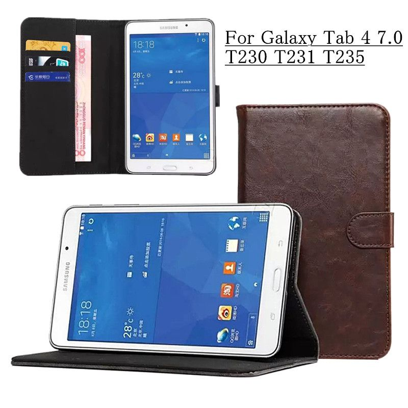 For Samsung Galaxy Tab 4 7.0 T230 T231 T235 Luxury PU Leather Case Business Flip Magnetic Stand Cover with Card Slots Holders
