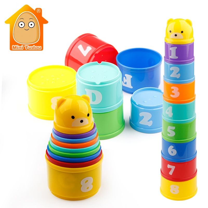 MiniTudou 8PCS Educational Baby Toys 6Month+ Figures Letters Foldind Stack Cup Tower Children Early Intelligence
