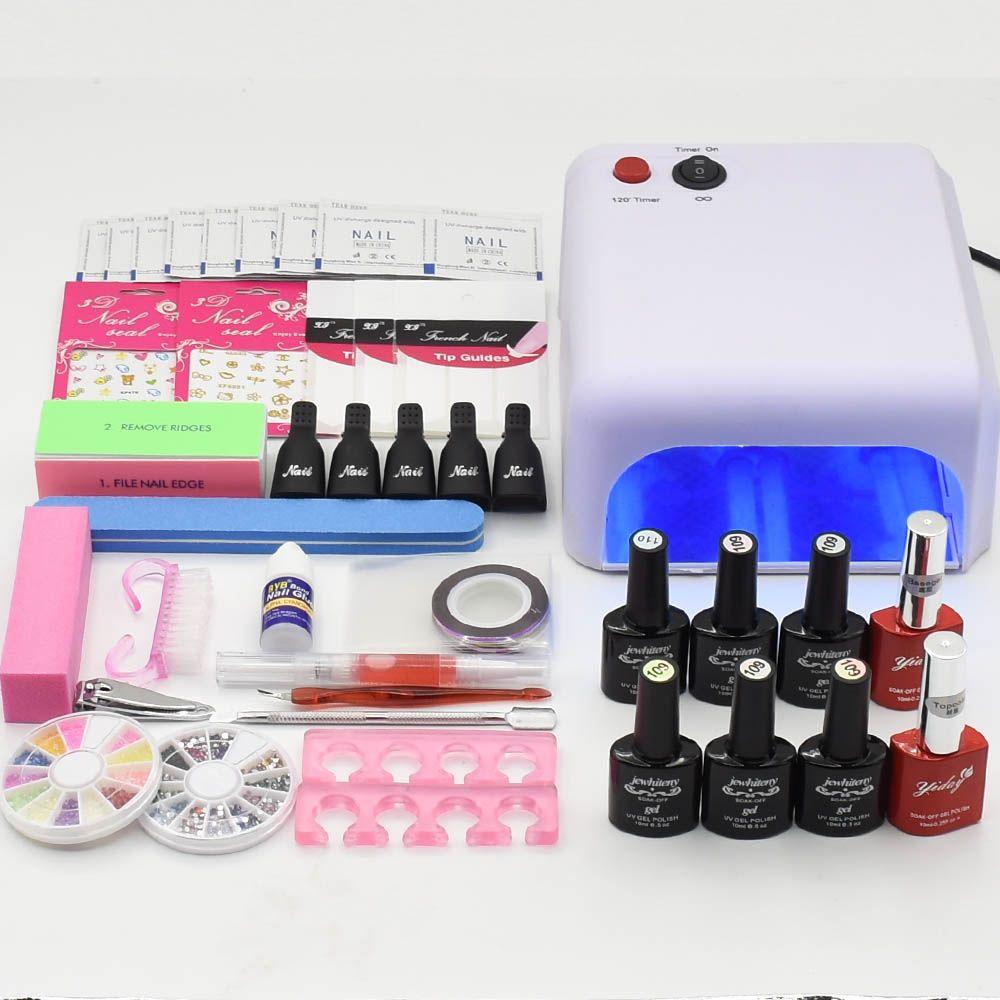 Nail Art Manicure Tools UV led Lamp nail dryer 6 Color 10ml base top coat soak off Gel varnish nail polish nail set kits