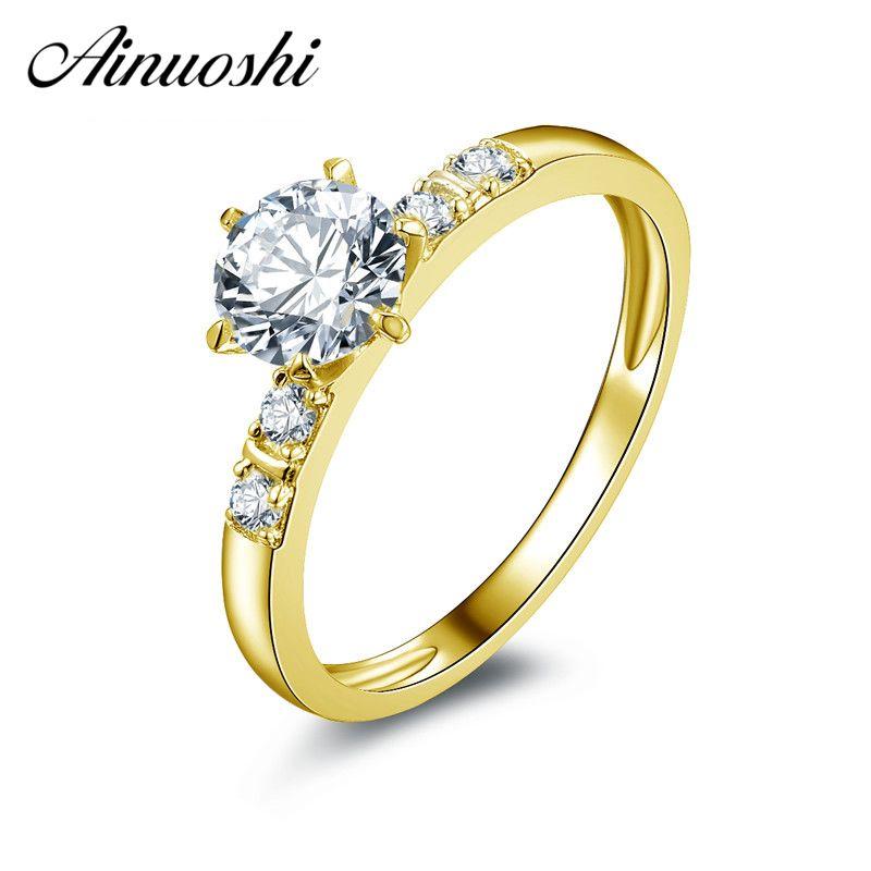 AINUOSHI Luxus 6 Claws 14K Weiß/Gelb Gold Ring Runde Simuliert Diamant Anillos Mujer Echt Gold Hochzeit ring für Frauen