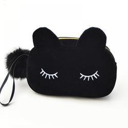 Portable Kartun Kucing Koin Penyimpanan dan Kosmetik Flanel Kantong Tas Kosmetik Kasus untuk Wanita Wanita Kantong Cuci Kit