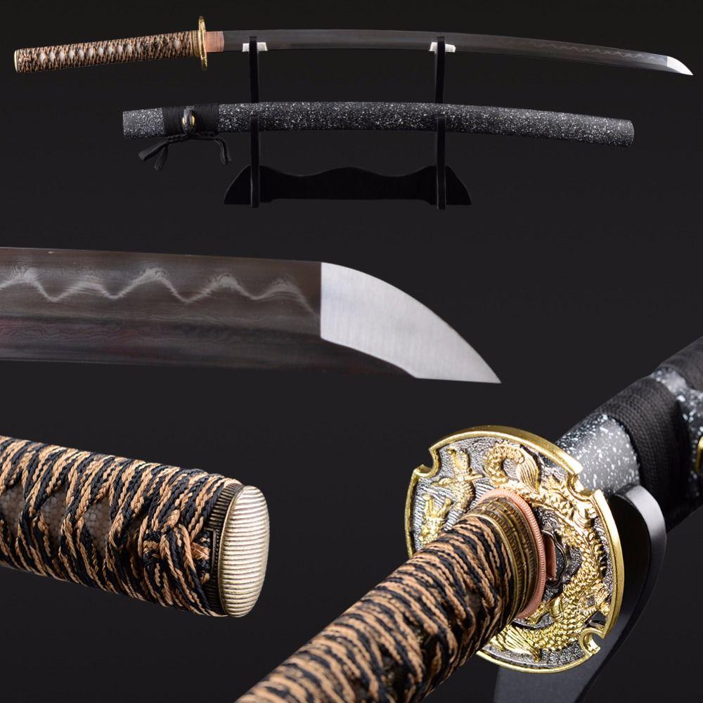 Folded Steel Lehm Milderte Vintage Japanischen Samurai Schwert Handmade Sharp Rand Katana Full Tang Sharp Zarte Dekoration