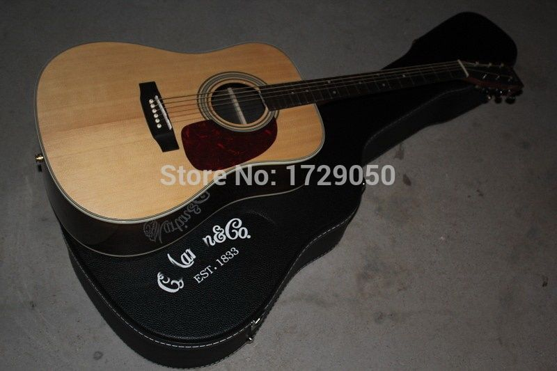 2017 Chinese Factory Custom New Arrival veneer Natural Wood D/28 Acoustic Guitar with EQ fishman With Hardcase 930