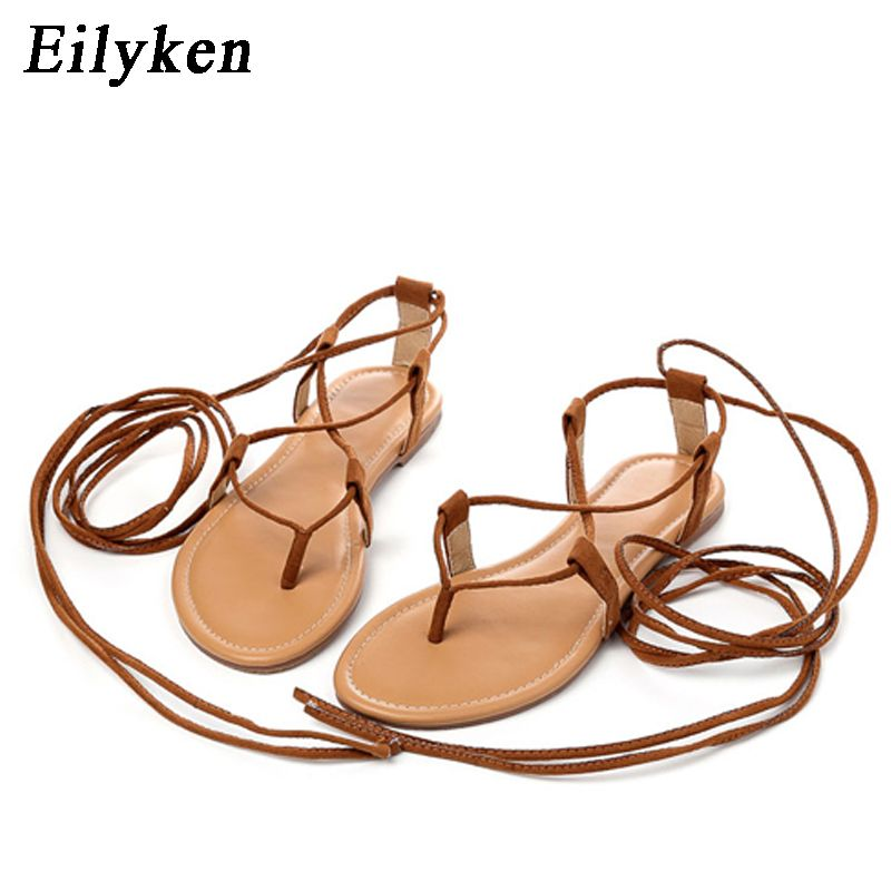 Eilyken été sandales romaines multiples sangle croisée haut genou haut Bondage string Nubuck femmes sandales tongs noir abricot