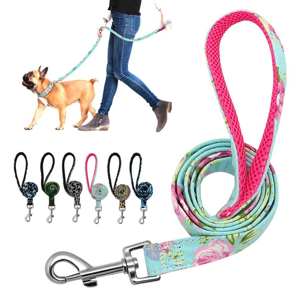 6 couleurs laisse de chien plomb Nylon imprimé Pet chiot marche laisse maille rembourrée formation de course laisses corde pour petits chiens moyens