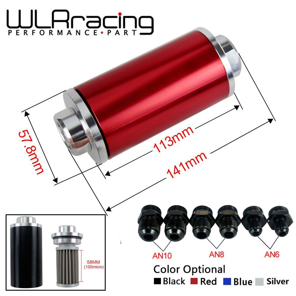 WLR RACING-OD: 58MM Universel filtre à Carburant avec 2 pièces AN6/AN8/AN10 raccords d'adaptateur avec 100micron en acier élément WLR5573