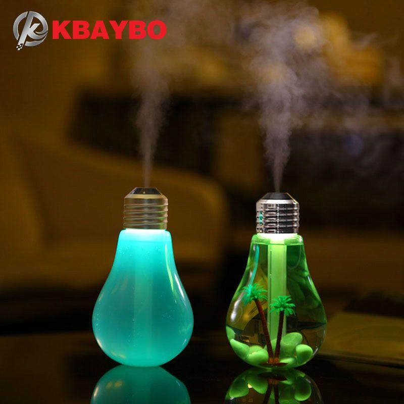 USB Ultrasonic Humidifier Home Office Mini Aroma Diffuser LED Night Light Aromatherapy Mist Maker Creative Bottle bulb