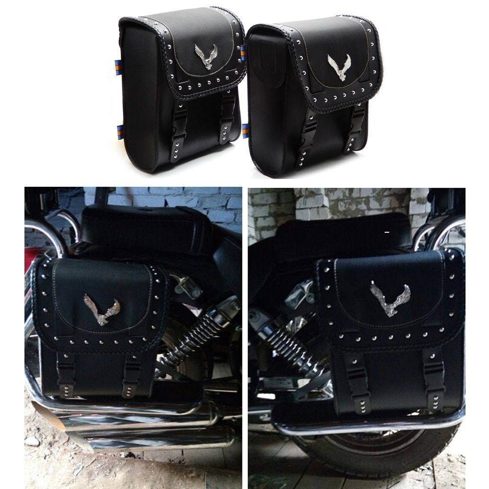 KEMiMOTO Universal Motorcycle bags Leather PU for Honda Shadow VT700 For harley Sportster 883 For BMW R1200GS After Market