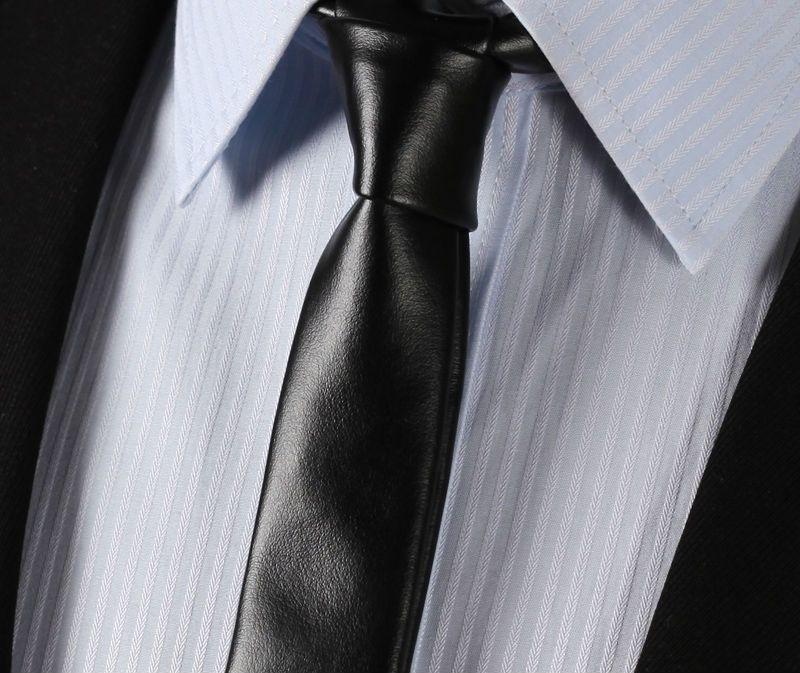 LET2 schwarz Leder Krawatte Lässig Klassische Mode Dünne Schlank Solide Männer Krawatte