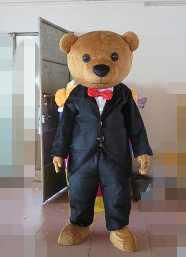 Brown teddy bear gentleman suit adult mascot costume