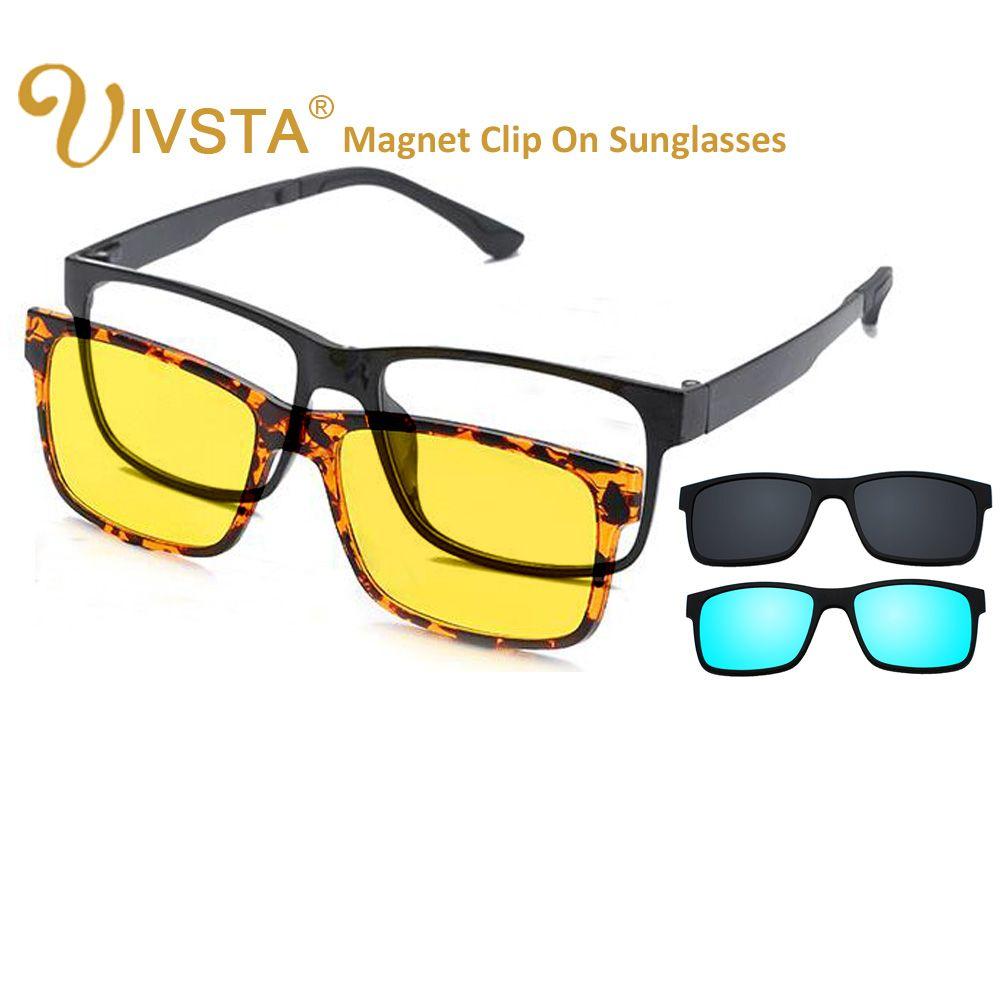 IVSTA comprend un Clip polarisé sur les lunettes de soleil hommes TR90 lentilles de prescription personnalisées clips magnétiques lunettes de nuit aimant d'entraînement