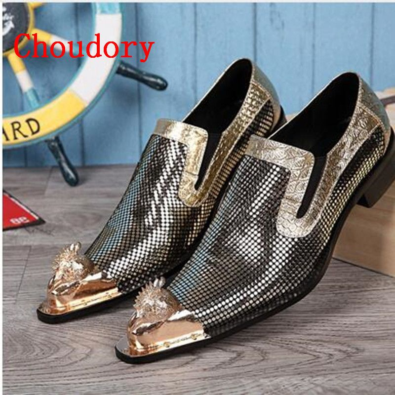 2018 Men Shoes Luxury Brand Loafers Gold Patent Leather Prom Shoes Crocodile Skin Shoes Formal Mens Pointed Toe Dress Shoes