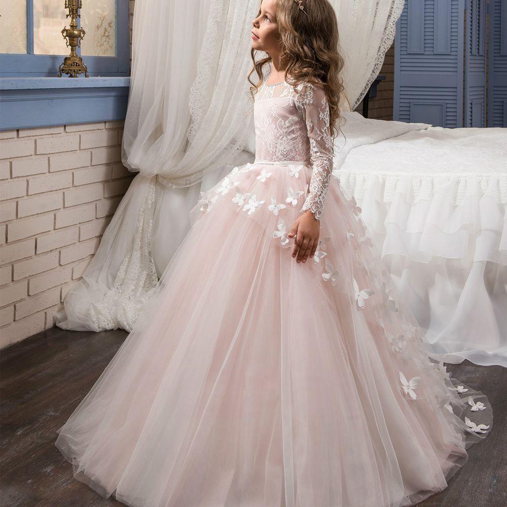 Платья для причастия бальное платье одежда с длинным рукавом Кружево кнопку назад с круглым вырезом Платья для девочек на свадьбу Vestido De ...