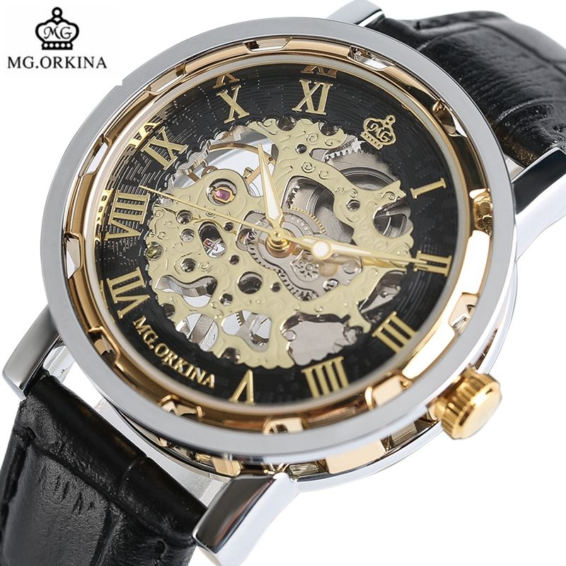 <font><b>ORKINA</b></font> Top Brand Mechanical Watch Luxury Skeleton Hand-Winding Watch Analog Modern Men Women Bangle Wrist Watch Relogio Feminino