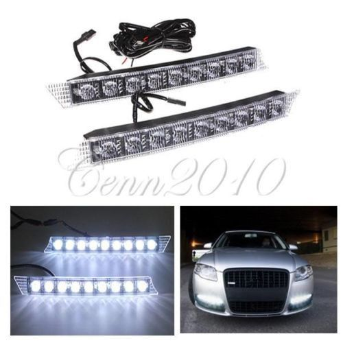 2x 9LED For Audi Style Daytime Running Light Fog Lamp DRL Super White Bar Waterproof For Lexus GS350 For BMW E90 92